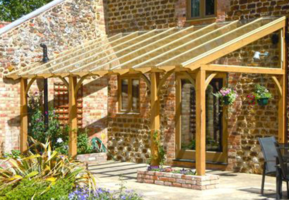 Cheshire oak framed lean to construction