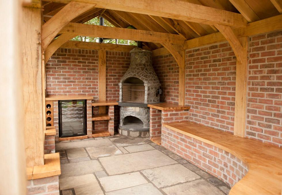 Oak framed outdoor kitchen