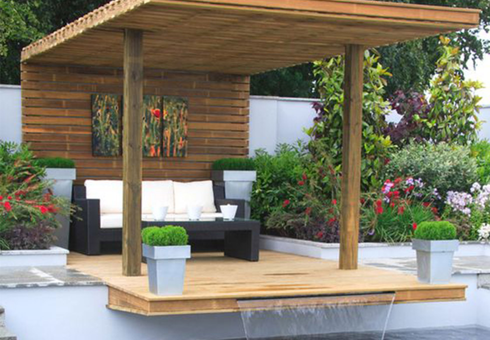 Cheshire outdoor garden area with waterfall