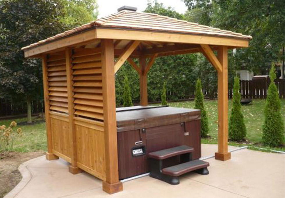 oak framed hot tub building