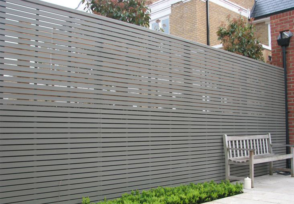 Modern grey horizontal timber slat fence