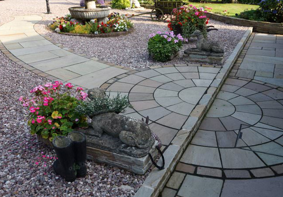 Natural stone paving, Little Leigh, Cheshire