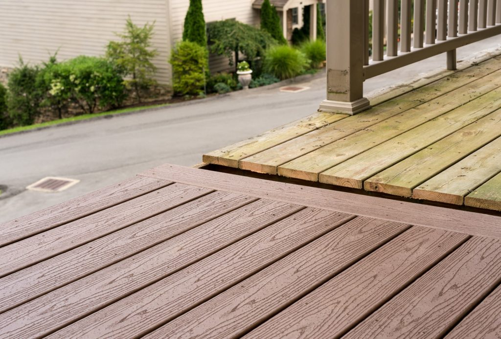 composite decking against wooden decking